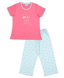 De-Nap Set Of Dream A Little Dream Printed Top & Capri - Fuchsia
