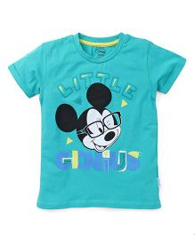 Mickey Mouse And Friends Half Sleeves Tee With Print - Green
