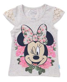 Mickey Mouse And Friends Cap Sleeves Top Minnie Mouse Print - Off White