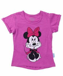 Mickey Mouse And Friends Half Sleeves Tee Minnie Print - Deep Purple