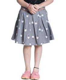Kidofy Printed Pleated Skirt - Grey