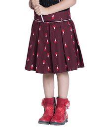 Kidofy Vibrant Pleated Skirt - Maroon