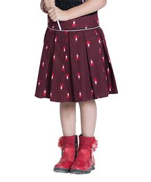 Kidofy Vibrant Pleated Skirt - Maroon