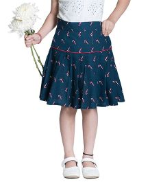 Kidofy Printed Low Rise Pleated Skirt - Blue