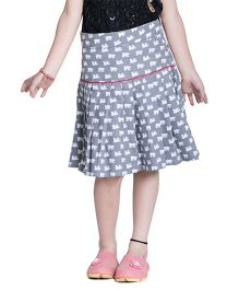 Kidofy Printed Low Rise Pleated Skirt - Grey