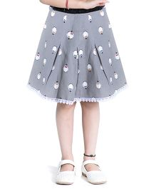 Kidofy Printed Overlapping Pleated Skirt - Grey
