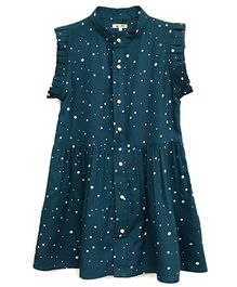 Kidofy Polka Printed Placket Dress - Teal Green