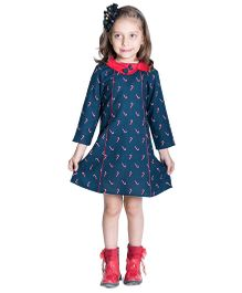 Kidofy A-Line Printed Peter Pan Bow Dress - Blue