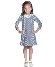 Kidofy A-Line Printed Peter Pan Bow Dress - Grey