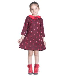 Kidofy A-Line Printed Peter Pan Bow Dress - Maroon