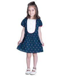 Kidofy Yoke Piping Printed Dress - Blue & White