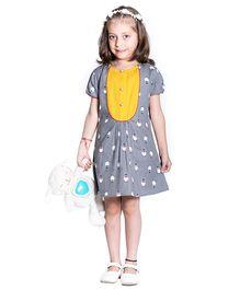 Kidofy Yoke Piping Printed Dress - Grey & Yellow