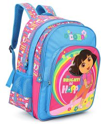 Dora Be Bright Be Happy Backpack Blue And Pink - 17 Inches
