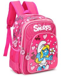 Smurfs Hearts Backpack Pink - 14 Inches