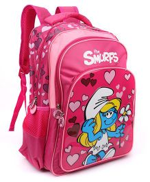 Smurfs Hearts Backpack Pink - 17 inches