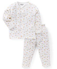 Doreme Full Sleeves Night Suit Boat And Anchor Print - White