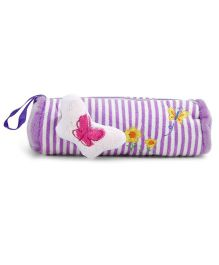 Striped Plush Pencil Pouch With Butterfly Motif - Purple
