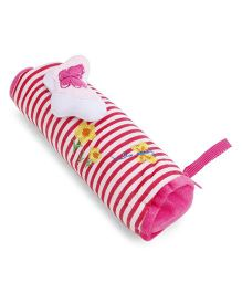 Striped Plush Pencil Pouch With Butterfly Motif - Pink