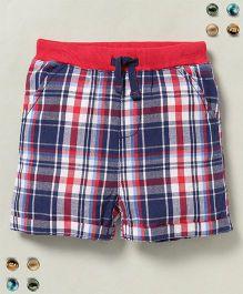 Beebay Checks Shorts - Navy Blue Red