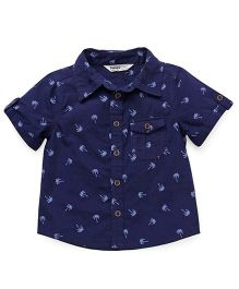 Beebay Half Sleeves Printed Shirt With Pocket - Navy