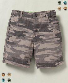 Beebay Shorts Camouflage Print - Khaki & Multi Color