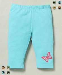 Beebay Leggings Butterfly Embroidery - Turquoise Blue