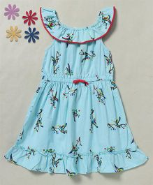 Beebay Sleeveless Macaw Print Ruffle Dress - Turquoise
