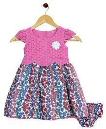Bella Moda Flower Printed Dress With Nappy Cover - Pink