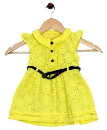 Bella Moda Cut Work Collared Dress - Yellow