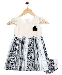 Bella Moda Nappy Cover Cut Work Bodice Dress - Black & White