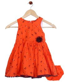 Bella Moda Nappy Cover Printed Flare Dress - Orange