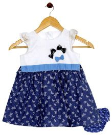 Bella Moda Butterfly Printed Dress With Nappy Cover - Blue
