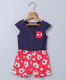 Beebay Cap Sleeves Jumpsuit Floral Print - Navy Blue Red