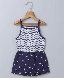 Beebay Singlet Sleeves Jumpsuit Star Print - Navy Blue