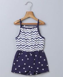 Beebay Singlet Sleeves Jumpsuit Star Print - Navy Blue