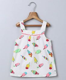 Beebay Singlet Top Allover Ice Cream Print - White