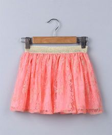Beeba Floral & Gold Lace Skirt - Peach