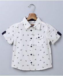 Beebay Half Sleeves Shirt Anchor Print - White