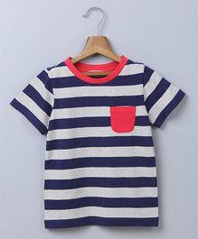 Beebay Half Sleeves Nautical Stripe T-Shirt With Pocket - Navy