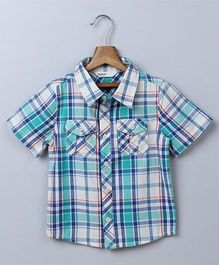 Beebay Half Sleeves Checks Shirt - Sea Green Blue White