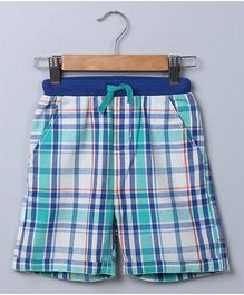 Beebay Check Ribbed Waistband Shorts - Blue
