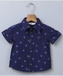 Beebay Half Sleeves Printed Shirt With Pocket - Navy