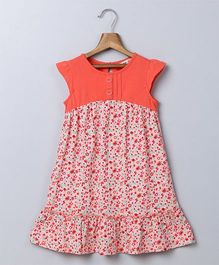 Beebay Cap Sleeves Dress Floral Print - Peach