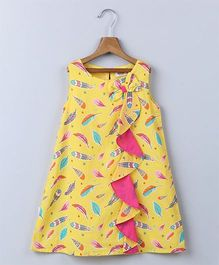 Beebay Sleeveless Feather Print Waterfall Frill Dress - Yellow