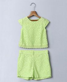 Beebay Cap Sleeves Lace Top & Shorts - Light Green