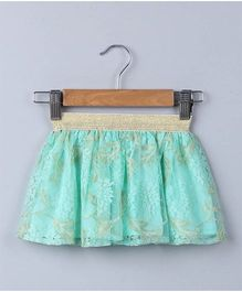 Beebay Floral & Gold Lace Skirt - Green