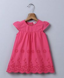 Beebay  Cap Sleeves Schiffli Embroidered Dress - Pink