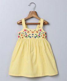 Beebay Singlet Embroidered Sun Dress - Yellow