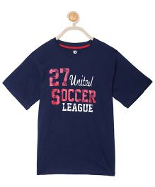 612 League Half Sleeves T-Shirt Soccer Print - Blue