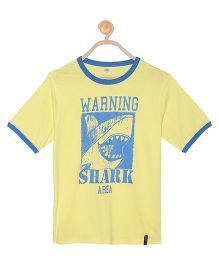 612 League Half Sleeves T-Shirt Shark Print - Yellow